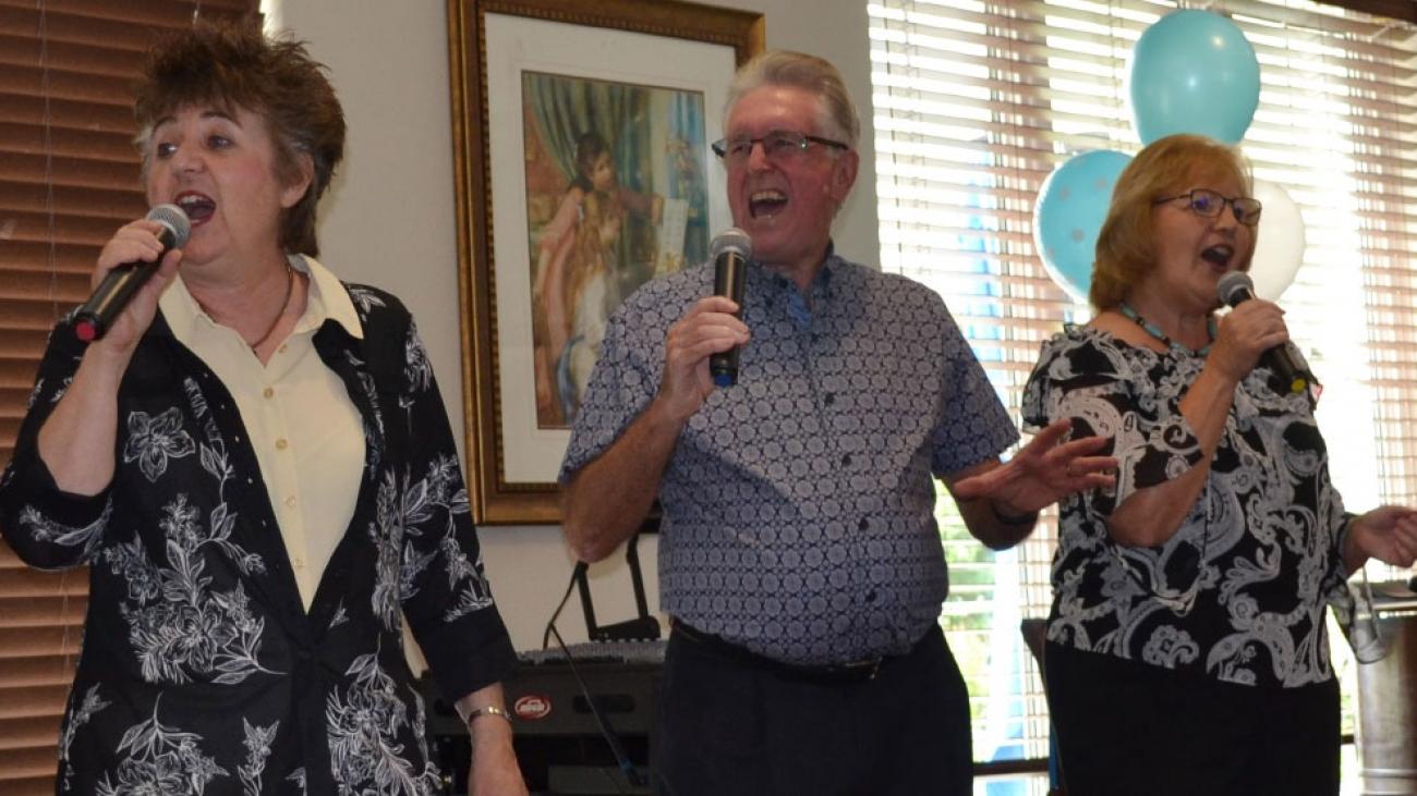 Singing at Milton anniversary celebration